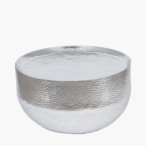 Hammered & Polished Aluminium Round Table Small