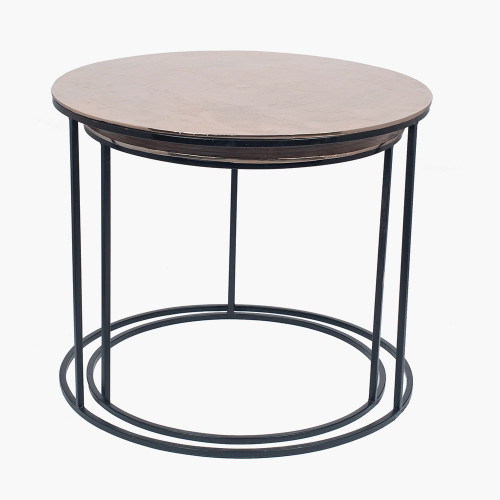 Black Iron & Gold Aluminium Set of 2 Round Tables