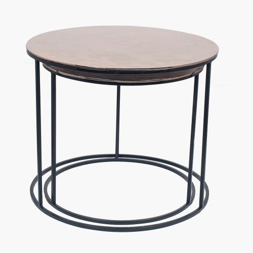 Black Iron & Gold Aluminium Set of 2 Round Tables