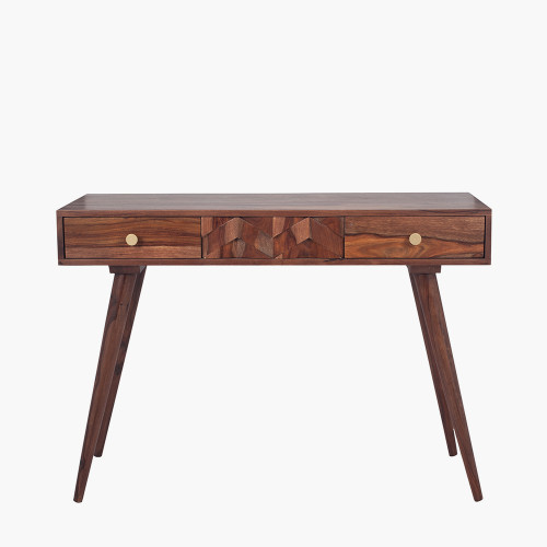 Sheesham Wood Honeycomb Design Console K/D