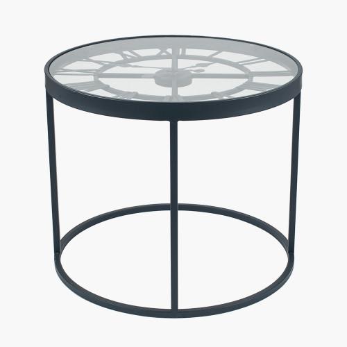 Antique Black Metal Round Clock Side Table