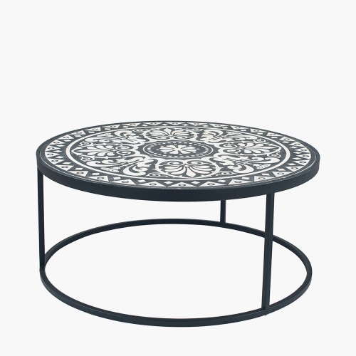 Antique Black & Cream Wood & Iron Coffee Table