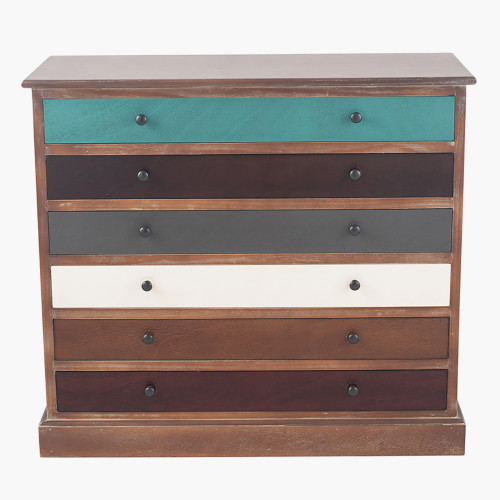 Pine Wood Multicoloured 6 Drawer Unit