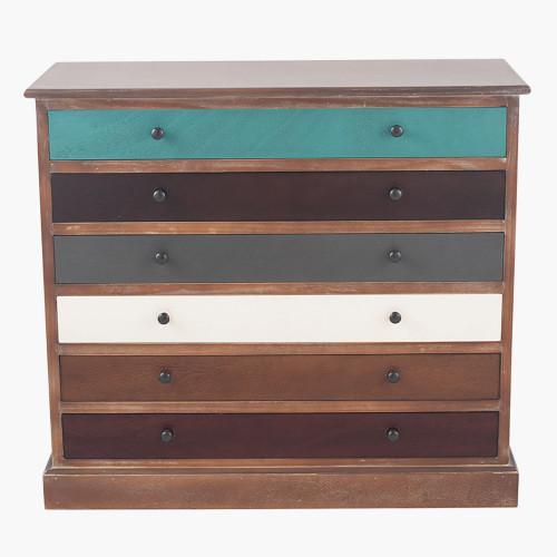 Pine Wood Multicoloured 6 Drawer Unit