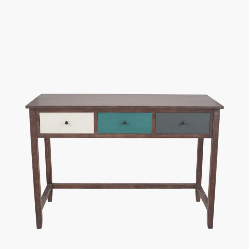 Pine Wood Multicoloured 3 Drawer Desk K/D