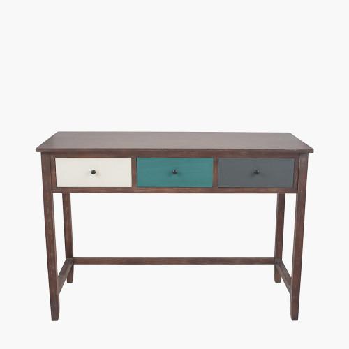 Pine Wood Multicoloured 3 Drawer Desk K/D