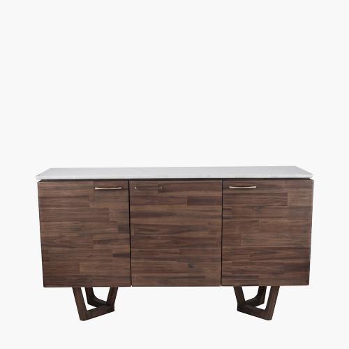 Cool Brown Acacia Wood & Marble Sideboard K/D