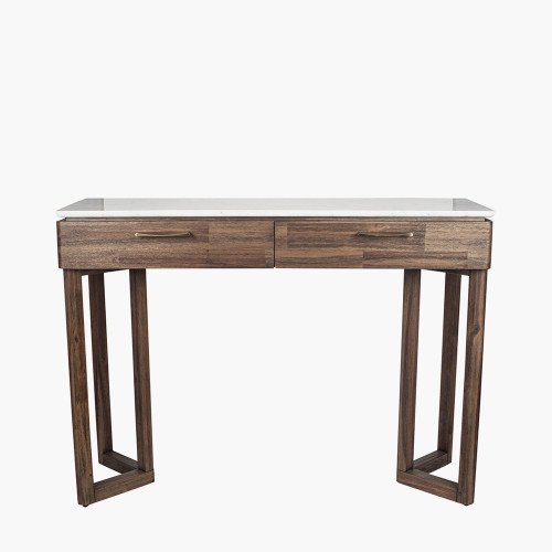 Cool Brown Acacia Wood & Marble Console Table K/D