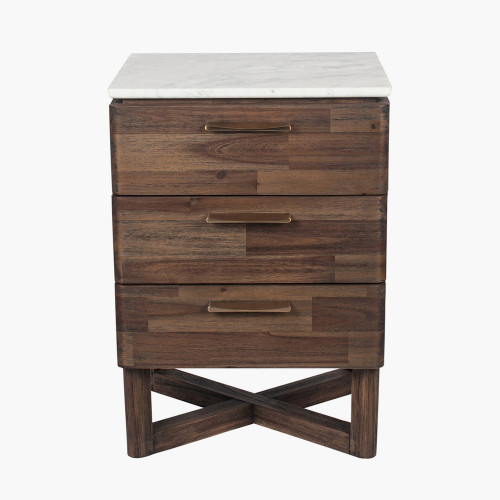Cool Brown Acacia Wood & Marble Bedside Unit K/D