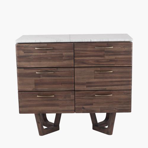 Cool Brown Acacia Wood & Marble 6 Drawer Unit K/D