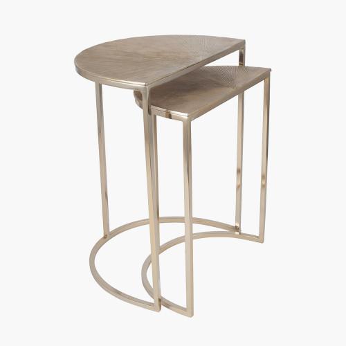S/2 Gold Metal Half Moon Tables