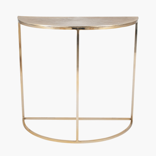 Gold Metal Half Moon Console Table