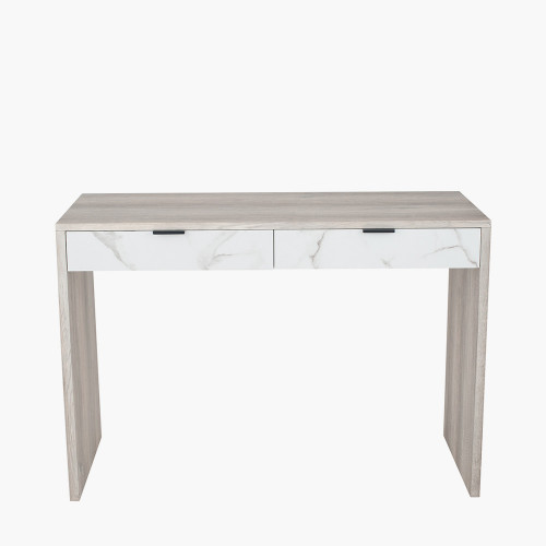 Grey Oak & Marble Wood Veneer Desk K/D