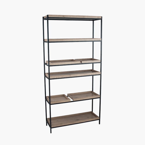 Natural Wood Veneer & Black Metal 5 Shelf Unit