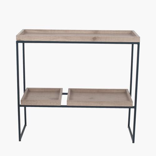 Natural Wood Veneer & Black Metal 2 Shelf Unit