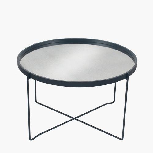 Matt Black Wood Veneer Coffee Table w/Foxed Glass
