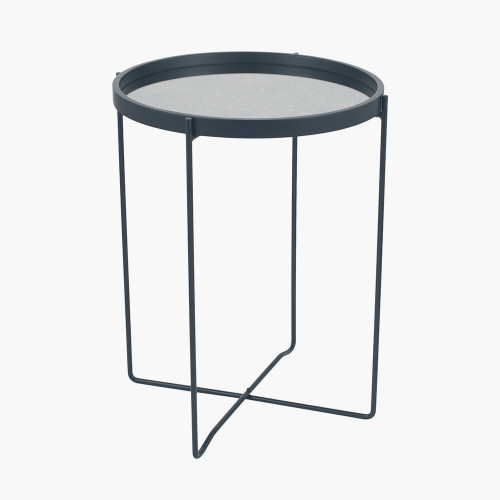 Matt Black Wood Veneer Side Table w/Foxed Glass