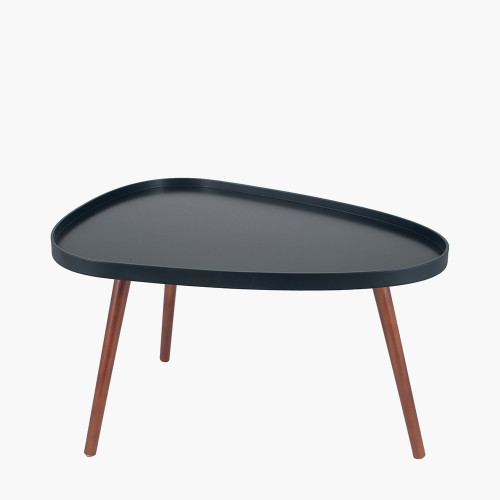 Black MDF & Brown Pine Wood Teardrop Coffee Table