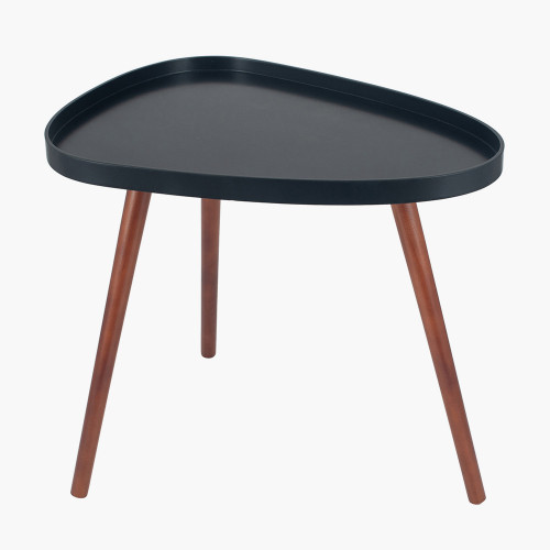 Black MDF & Brown Pine Wood Teardrop Side Table