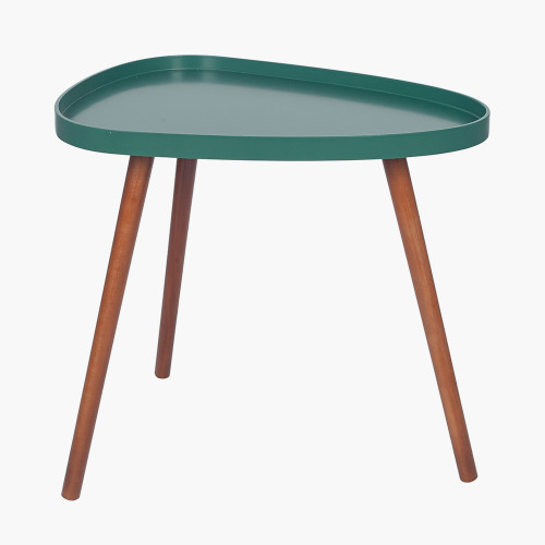 Forest Green MDF and Brown Pine Teardrop Table