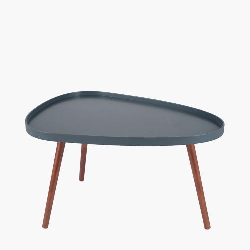 Grey MDF & Brown Pine Wood Teardrop Coffee Table