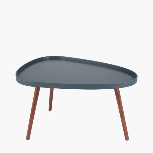 Grey MDF & Brown Pine Wood Teardrop Coffee Table