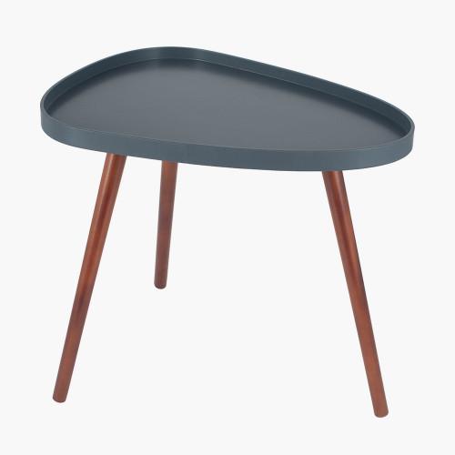Grey MDF & Brown Pine Wood Teardrop Side Table