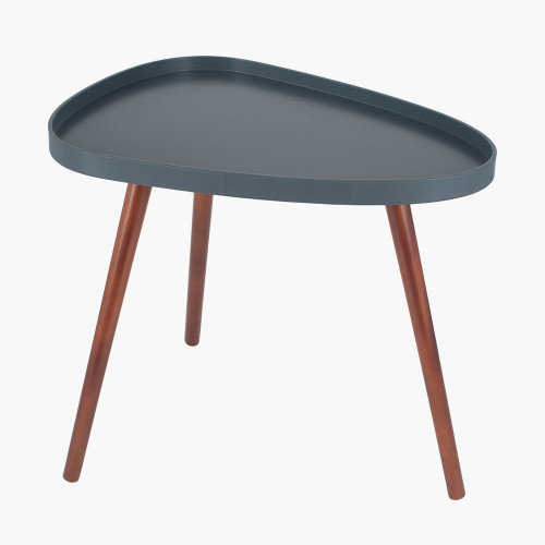 Grey MDF & Brown Pine Wood Teardrop Side Table