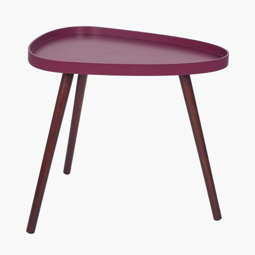 Raspberry MDF and Brown Pine Wood Teardrop Table