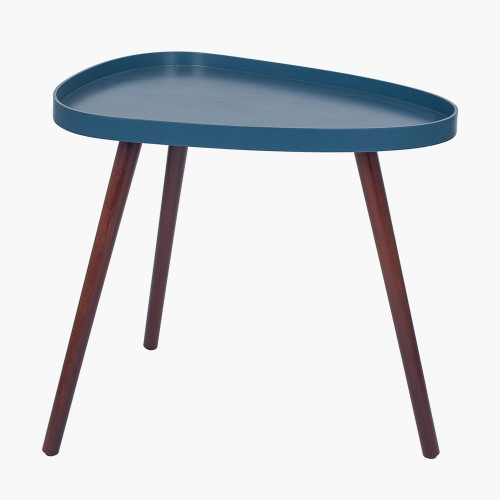Sapphire Blue MDF and Brown Pine Teardrop Table