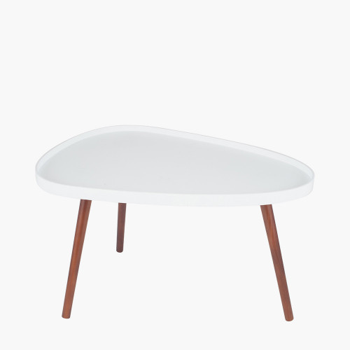 White MDF & Brown Pine Wood Teardrop Coffee Table