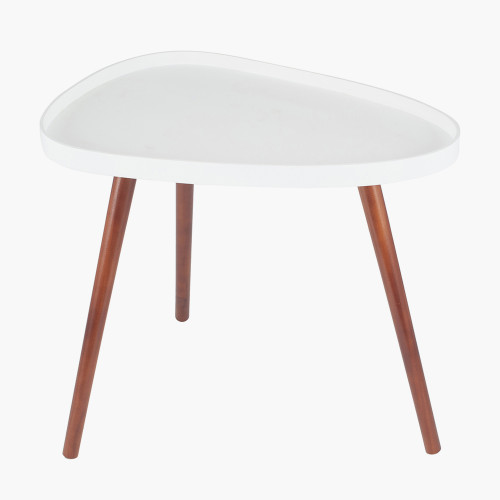 White MDF & Brown Pine Wood Teardrop Side Table
