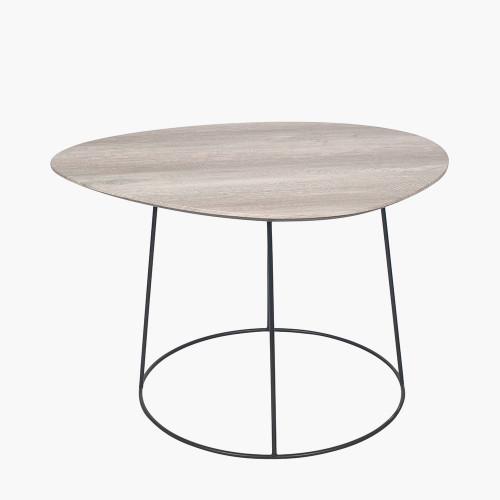 White Oak Veneer and Black Metal Leg Side Table