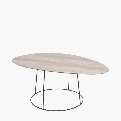 White Oak Veneer and Black Metal Leg Coffee Table