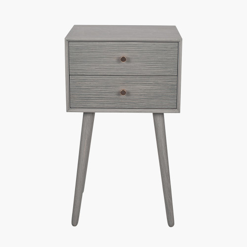 Dark Grey Pine Wood 2 Drawer Bedside Table