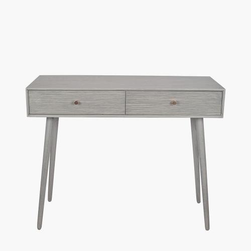 Dark Grey Pine Wood 2 Drawer Console Table