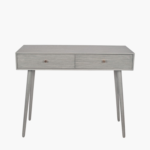 Dark Grey Pine Wood 2 Drawer Console Table