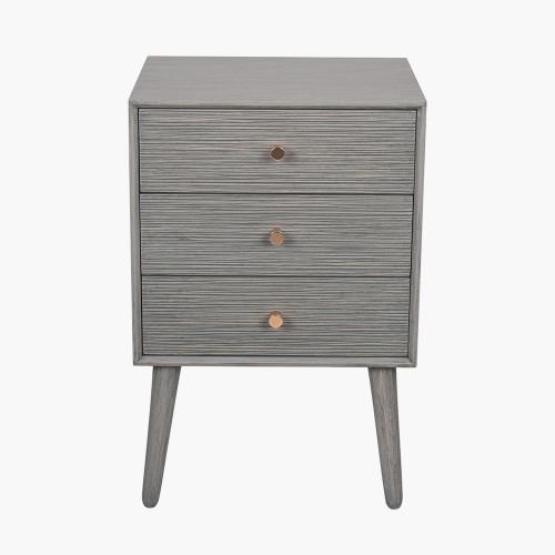 Dark Grey Pine Wood 3 Drawer Bedside Table