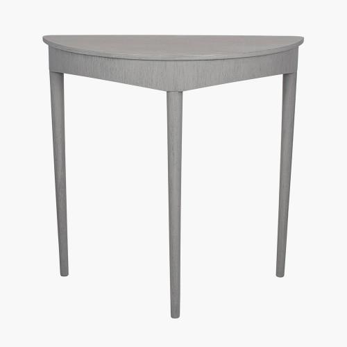 Dark Grey Pine Wood Half Moon Occasional Table