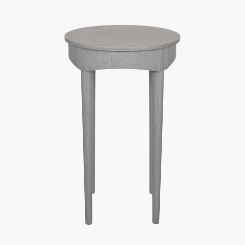 Dark Grey Pine Wood Round Occasional Table