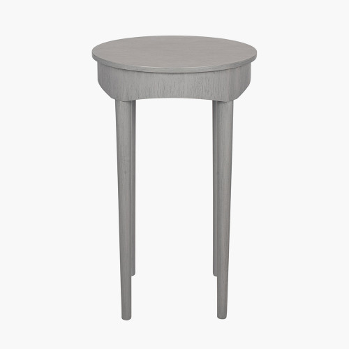 Dark Grey Pine Wood Round Occasional Table