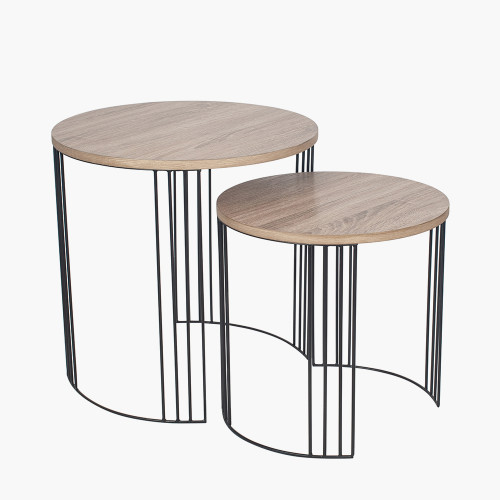 Dark Wood and Black Metal S/2 Round Side Tables