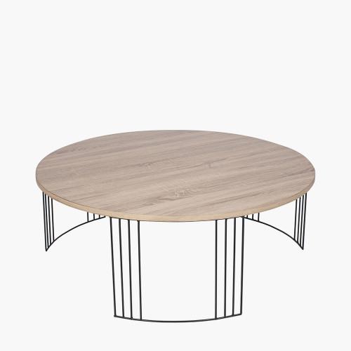 Dark Wood and Black Metal Round Coffee Table