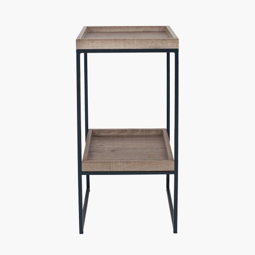 Natural Wood Veneer and Black Metal Side Table