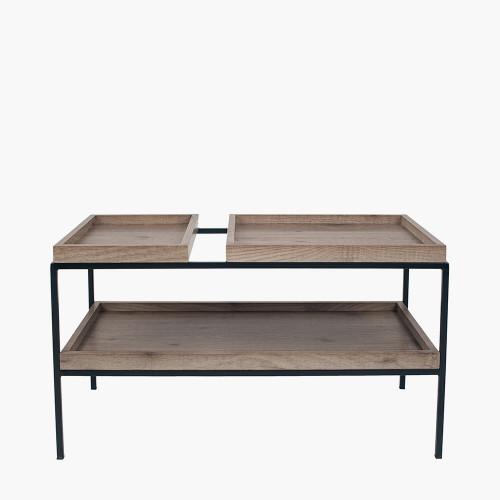 Natural Wood Veneer and Black Metal Coffee Table