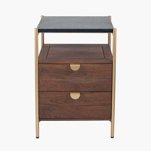 Acacia Wood and Black Marble 2 Drawer Bedside Unit
