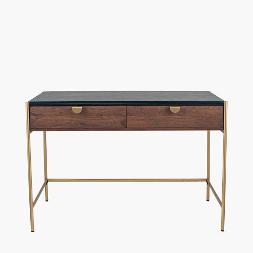 Acacia Wood and Black Marble 2 Drawer Desk