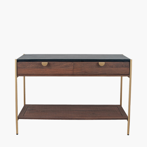 Acacia and Black Marble 2 Drawer Console Table