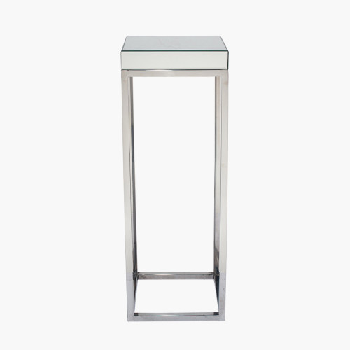 Silver Mirrored Glass & Metal Square Table Large