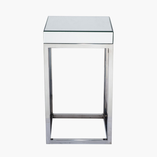 Silver Mirrored Glass & Metal Square Table Small